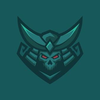 Ilustração do logotipo do personagem samurai japonês ou boshido