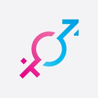 Ilustração do logotipo do símbolo de gênero de sexo e igualdade de homens e mulheres