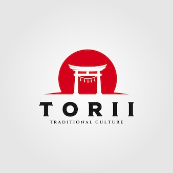 Ilustração do logotipo do torii gate, ilustração do símbolo da religião japonesa