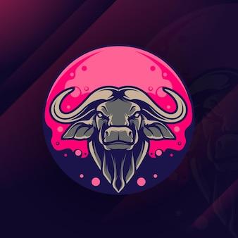 Ilustração do logotipo do touro gradiente colorido estilo