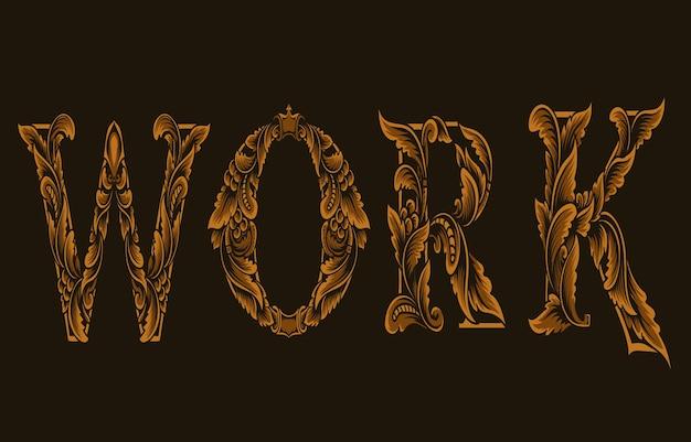 Ilustração do logotipo do trabalho com gravura do estilo do ornamento