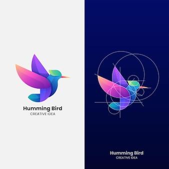 Ilustração do logotipo do vetor beija-flor gradiente estilo colorido