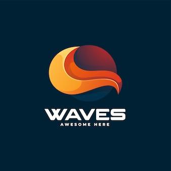 Ilustração do logotipo do vetor com ondas gradientes e estilo colorido
