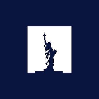 Ilustração do logotipo do vetor do monumento da estátua da liberdade