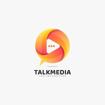 Ilustração do logotipo do vetor estilo colorido do gradiente da bolha da mídia.