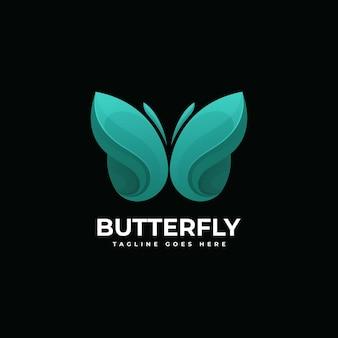 Ilustração do logotipo do vetor estilo colorido do gradiente da borboleta