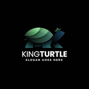 Ilustração do logotipo do vetor estilo colorido do gradiente da tartaruga