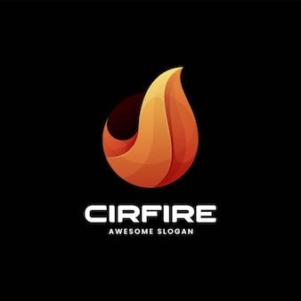 Ilustração do logotipo do vetor estilo colorido do gradiente de fogo.