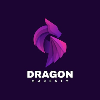 Ilustração do logotipo do vetor estilo colorido do gradiente do dragão.