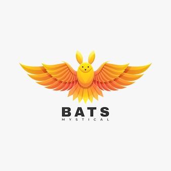 Ilustração do logotipo do vetor estilo colorido do gradiente dos morcegos