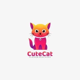 Ilustração do logotipo do vetor estilo colorido gradiente de gato bonito.