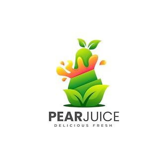 Ilustração do logotipo do vetor estilo colorido gradiente de suco de pêra