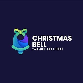 Ilustração do logotipo do vetor estilo colorido gradiente do sino de natal