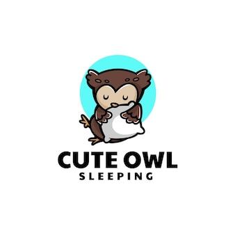 Ilustração do logotipo do vetor estilo de desenho animado da mascote da coruja sonolenta