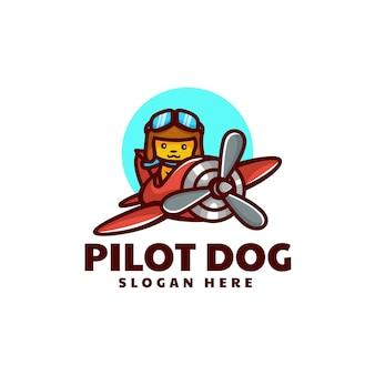 Ilustração do logotipo do vetor estilo de desenho animado da mascote do cão piloto