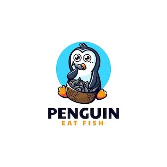 Ilustração do logotipo do vetor estilo de desenho animado do mascote do pinguim