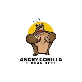 Ilustração do logotipo do vetor estilo dos desenhos animados da mascote do gorila irritado.