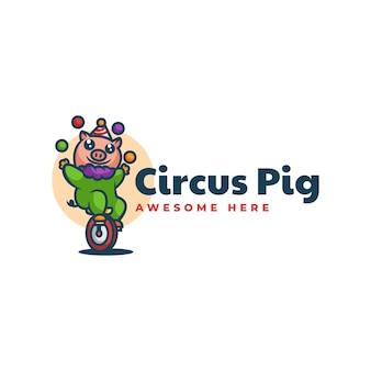 Ilustração do logotipo do vetor estilo dos desenhos animados da mascote do porco do circo.