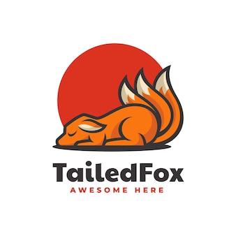 Ilustração do logotipo do vetor estilo simples mascote da raposa com cauda