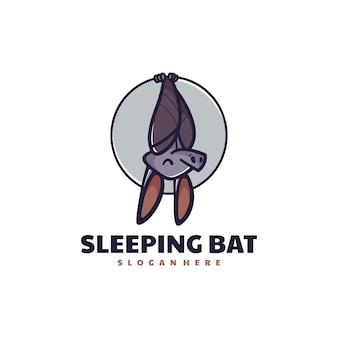 Ilustração do logotipo do vetor estilo simples mascote do morcego adormecido