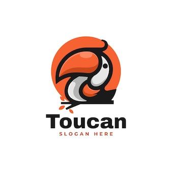 Ilustração do logotipo do vetor estilo simples mascote do tucano