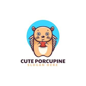 Ilustração do logotipo do vetor mascote bonito do porco-espinho estilo de desenho animado