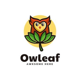 Ilustração do logotipo do vetor mascote da folha da coruja estilo de desenho animado