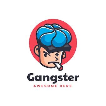 Ilustração do logotipo do vetor mascote do gângster estilo de desenho animado