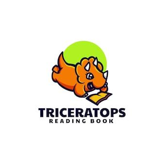 Ilustração do logotipo do vetor mascote do triceratops estilo de desenho animado
