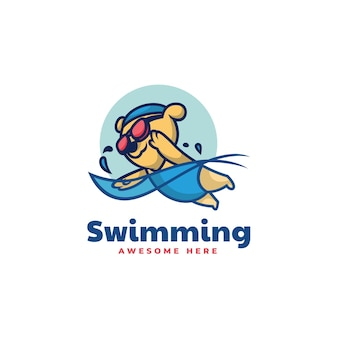 Ilustração do logotipo do vetor mascote do urso de natação estilo dos desenhos animados