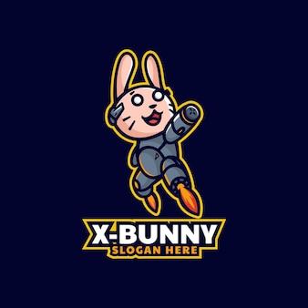 Ilustração do logotipo do vetor x mascote do coelho estilo de desenho animado
