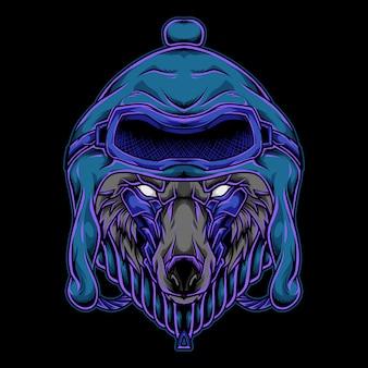 Ilustração do logotipo do wolf head mascot