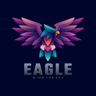 Ilustração do logotipo eagle gradient colorful style.