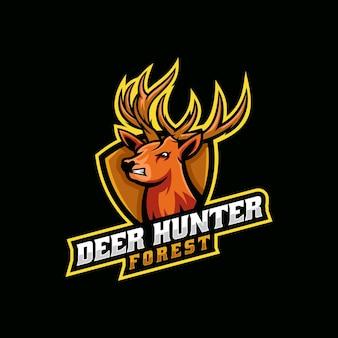 Ilustração do logotipo em vetor deer hunter e esporte e estilo esportivo