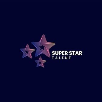 Ilustração do logotipo em vetor estilo de arte de linha gradiente em estrela