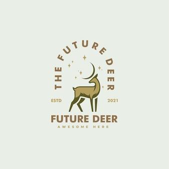 Ilustração do logotipo em vetor estilo distintivo vintage de cervo