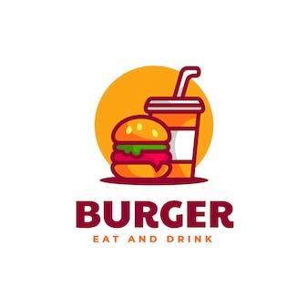 Ilustração do logotipo em vetor estilo mascote simples de hambúrguer