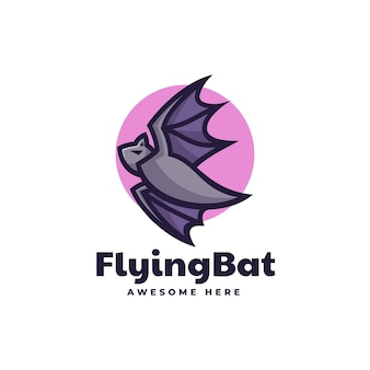 Ilustração do logotipo em vetor estilo simples mascote do morcego voador