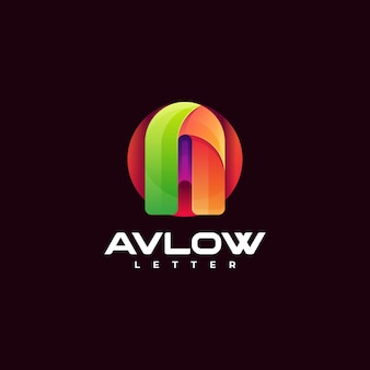 Ilustração do logotipo em vetor letra a estilo colorido gradiente