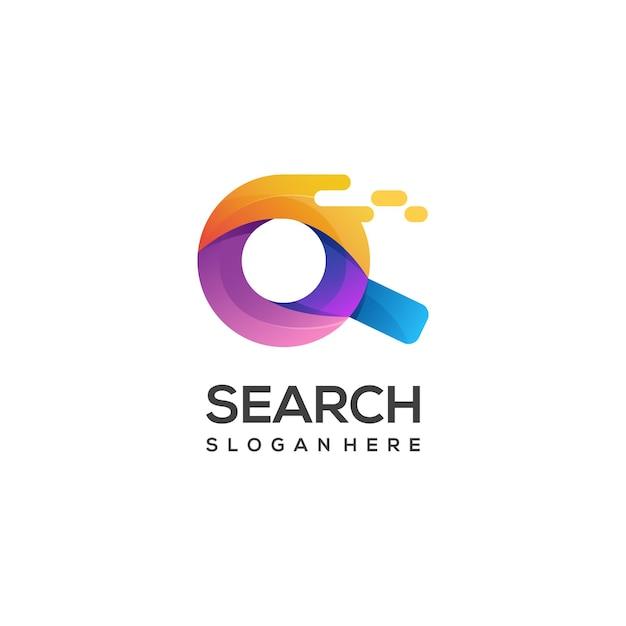 Ilustração do logotipo em vidro de pesquisa gradiente colorido