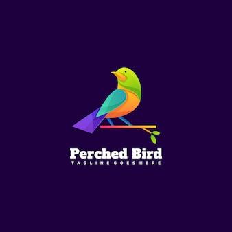 Ilustração do logotipo empoleirado pássaro gradiente estilo colorido.
