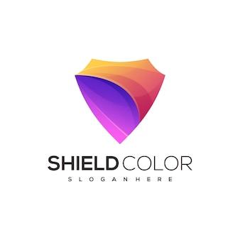 Ilustração do logotipo escudo gradiente colorido