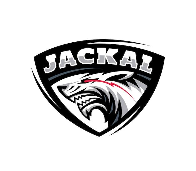 Ilustração do logotipo esport da cabeça de lobo lobo chacal em emblema de triângulo