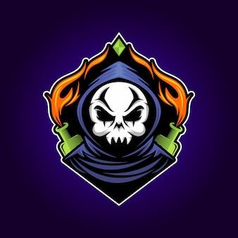 Ilustração do logotipo esport do mascote do crânio do jogador
