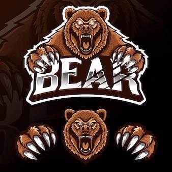 Ilustração do logotipo esport do urso animal selvagem com raiva