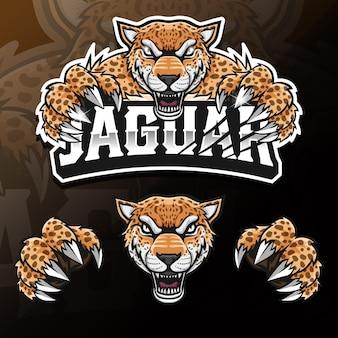Ilustração do logotipo esport isolado de jaguar de animal selvagem com raiva