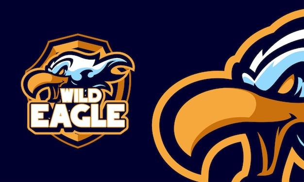 Ilustração do logotipo esportivo do mascote da cabeça da águia selvagem com raiva