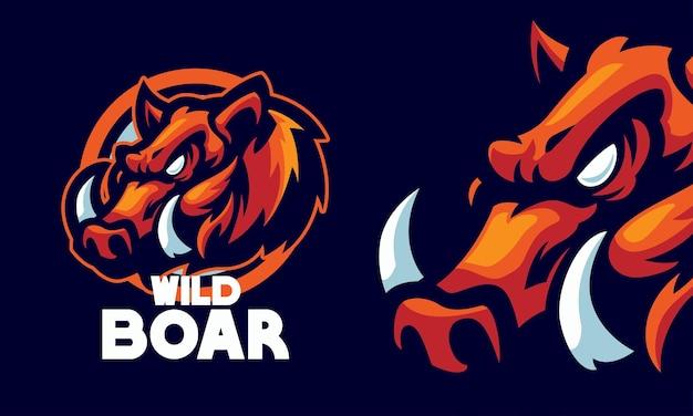 Ilustração do logotipo esportivo do mascote da cabeça de javali zangado