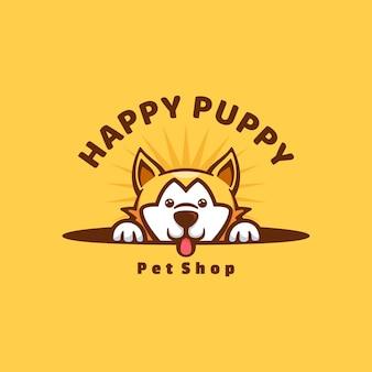 Ilustração do logotipo estilo bonito dos desenhos animados do filhote de cachorro feliz.