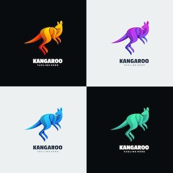 Ilustração do logotipo estilo canguru gradiente colorido.